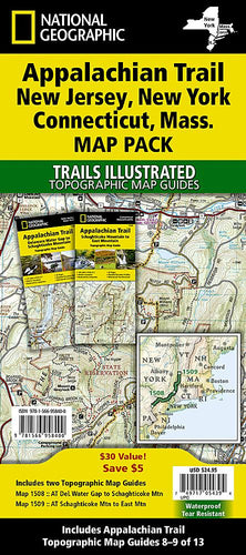 Appalachian Trail: New Jersey New York Connecticut Massachusetts [Map Pack Bundle] Trails Illustrated Maps Bundle Map-N-Hike