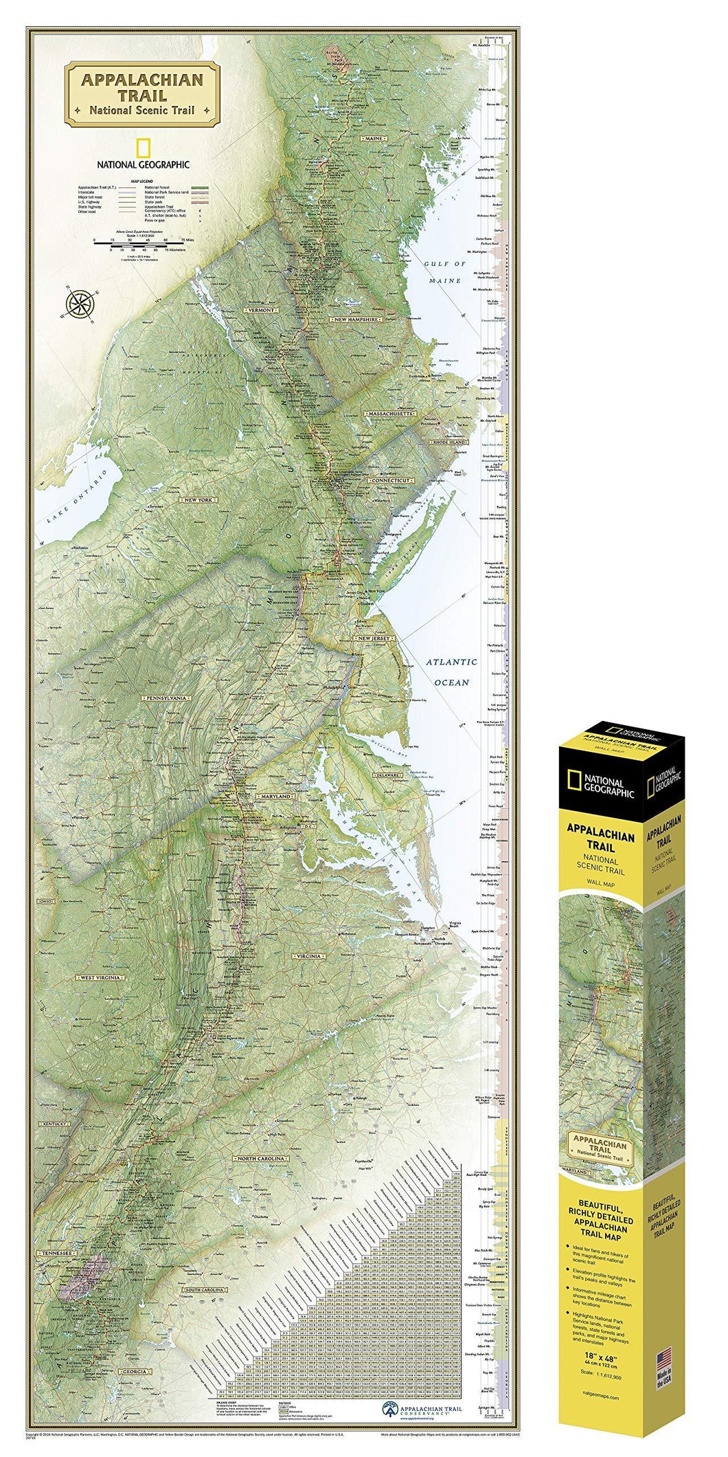 Appalachian Trail Wall Map In Gift Box Wall Maps Map-N-Hike