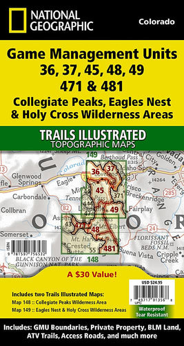 Collegiate Peaks Eagles Nest and Holy Cross Wilderness Areas GMU [Map Pack Bundle] Trails Illustrated Maps Bundle EVMAPLINK