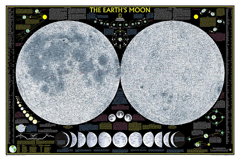 Earth's Moon Wall Maps EVMAPLINK Tubed
