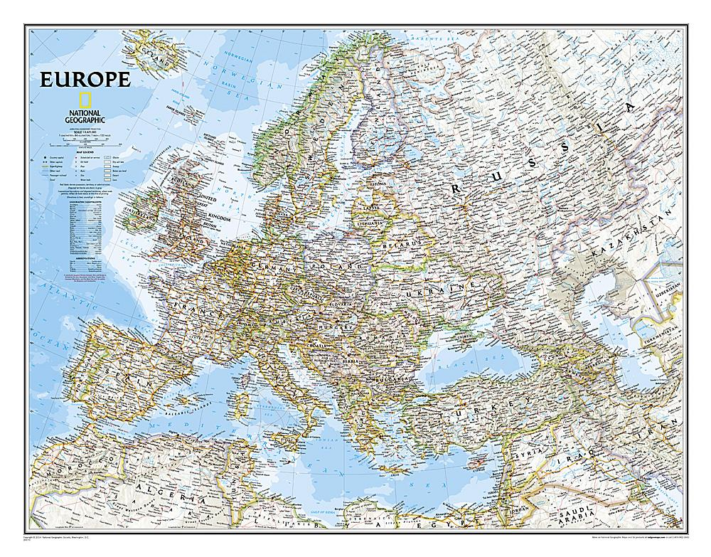 Europe Classic Wall Maps EVMAPLINK Tubed