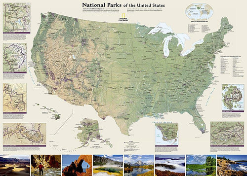 National Parks of the United States Map Wall Maps EVMAPLINK Tubed
