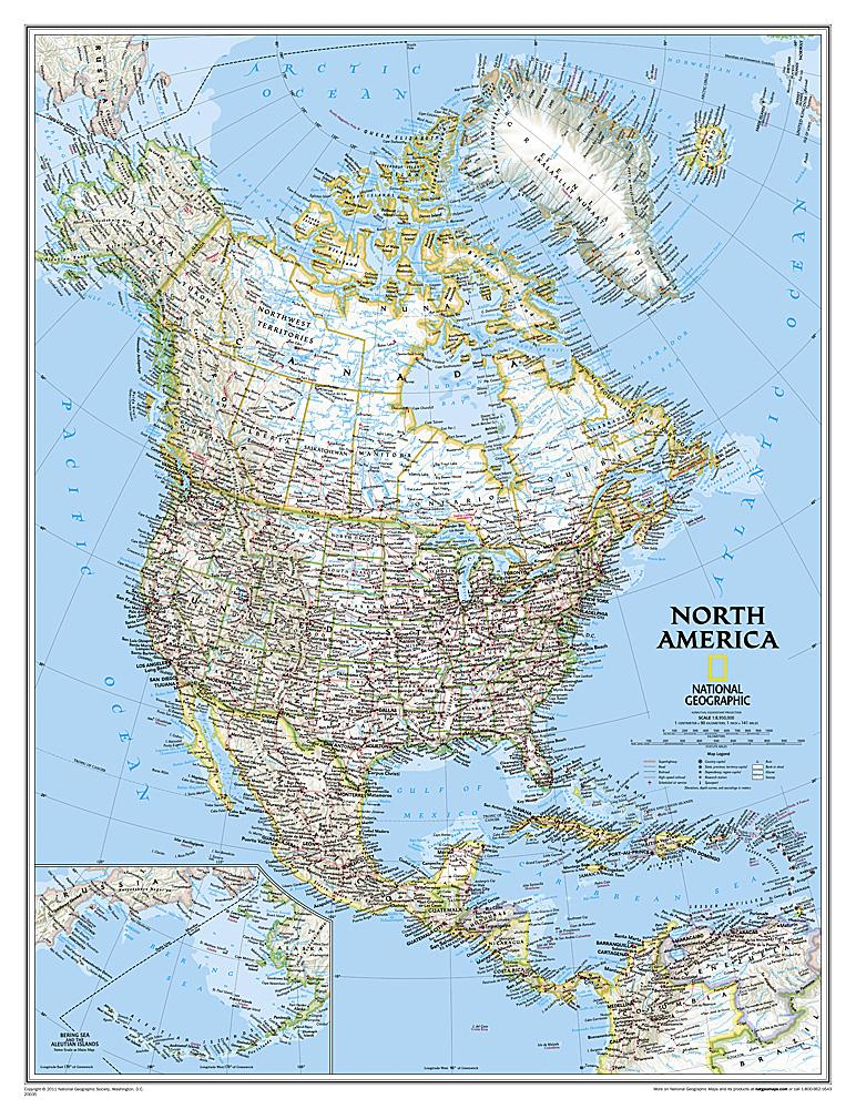 North America Classic [Enlarged] Wall Maps EVMAPLINK Tubed