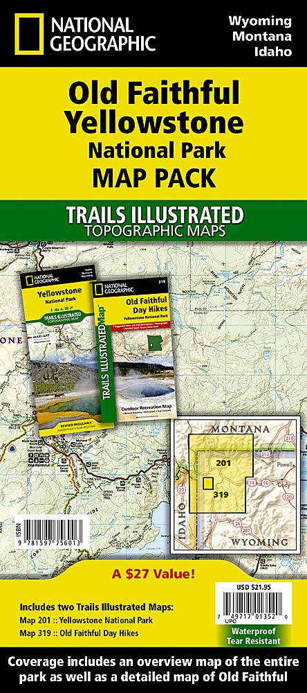 Old Faithful Yellowstone [Map Pack Bundle] Trails Illustrated Maps Bundle EVMAPLINK