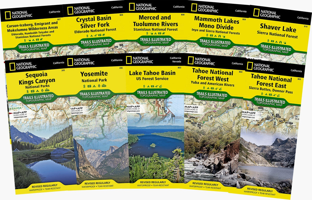 Sierra Nevada Trail Map Collection [boxed set] Trails Illustrated Maps Bundle National Geographic