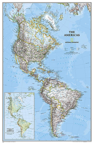 The Americas Classic Wall Maps EVMAPLINK Tubed