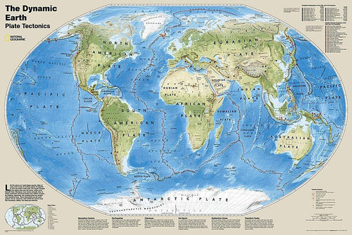 The Dynamic Earth, Plate Tectonics Map Wall Maps EVMAPLINK Tubed