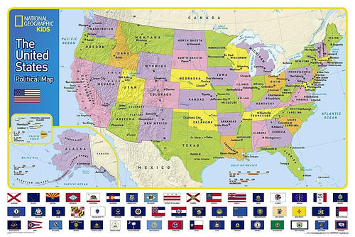 The United States for Kids Map Wall Maps EVMAPLINK Laminated
