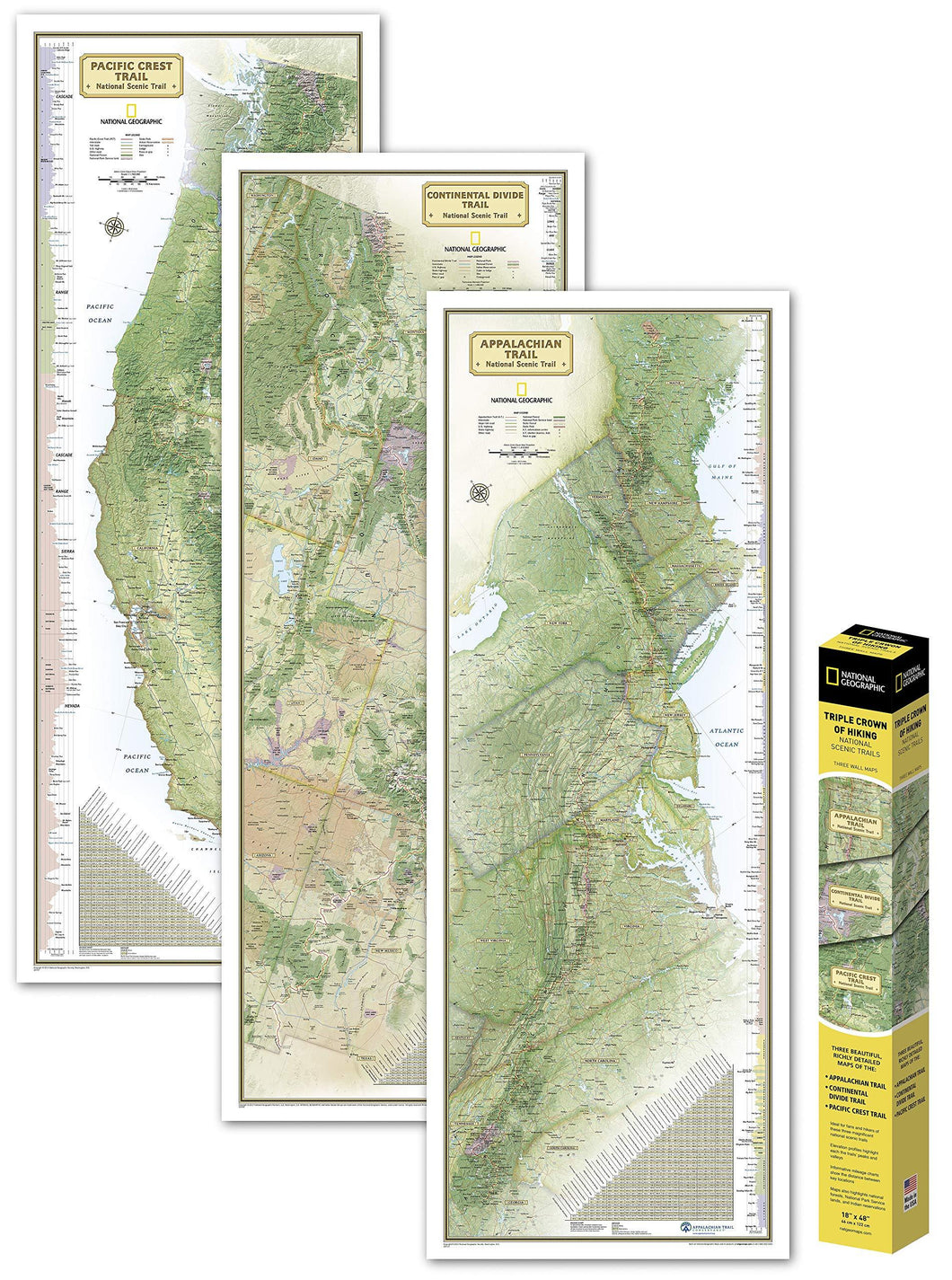 Triple Crown of Hiking Map [in gift box] Wall Maps EVMAPLINK