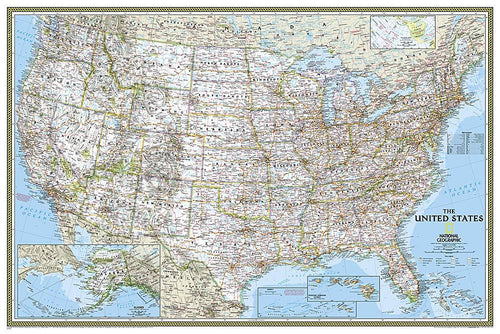 United States Classic Map [Poster Size] Wall Maps EVMAPLINK
