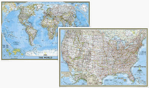 World and United States Classic [ Poster Size, Map Pack Bundle] Wall Maps EVMAPLINK Tubed