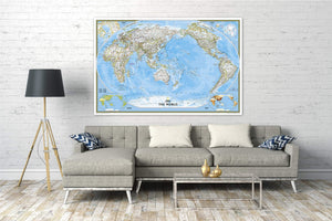 World Classic, Pacific Centered Map [Enlarged] Wall Maps EVMAPLINK