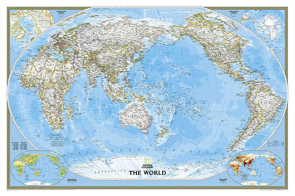 World Classic, Pacific Centered Map Wall Maps EVMAPLINK Tubed