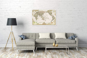 World Executive, Pacific Centered Map Wall Maps EVMAPLINK