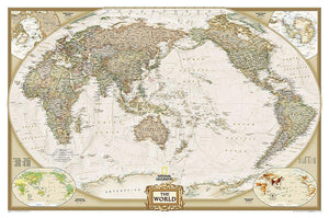 World Executive, Pacific Centered Map Wall Maps EVMAPLINK Tubed