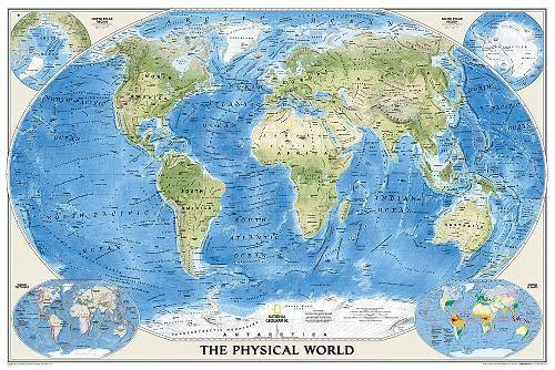 World Physical Map Wall Maps EVMAPLINK Tubed