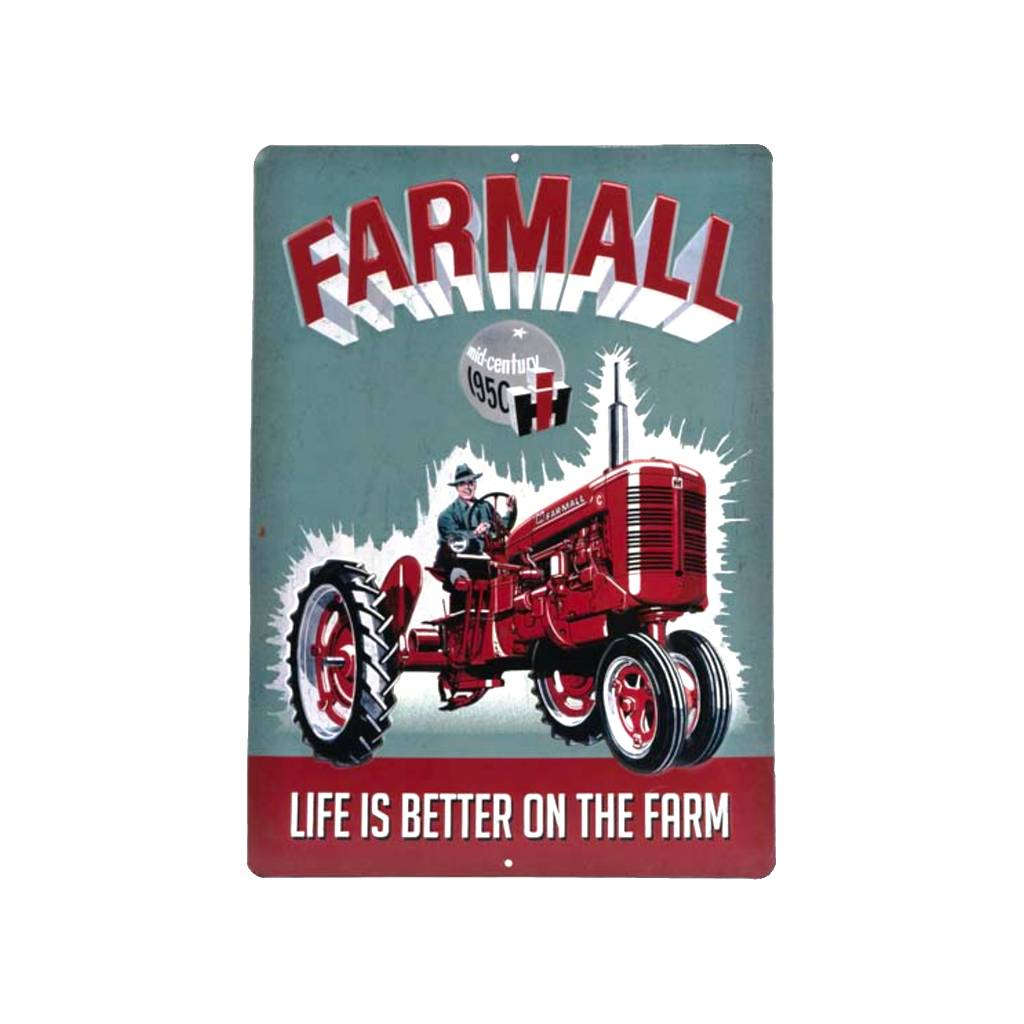 international harvester farmall tractor embossed tractor sign