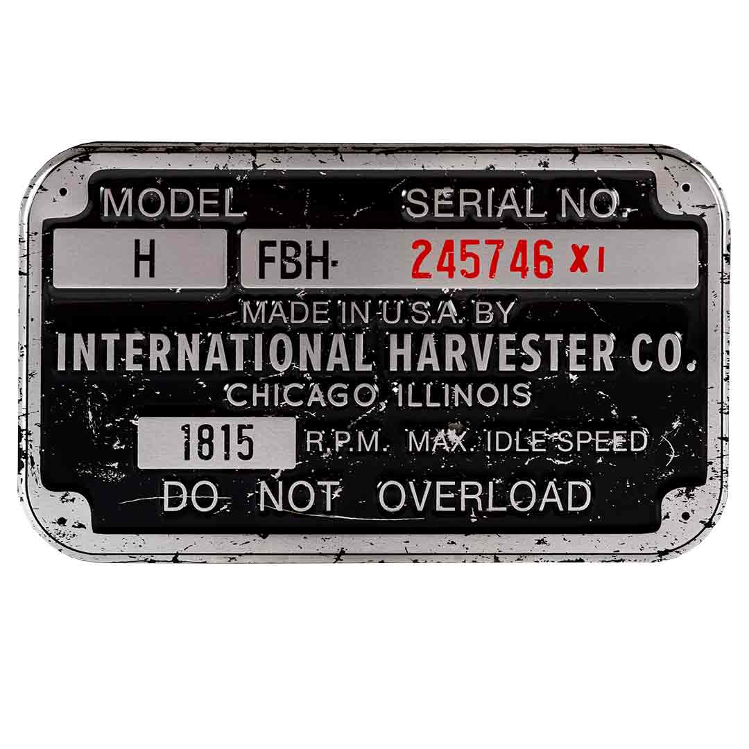 International Harvester Tag 12in X 7in  Sign