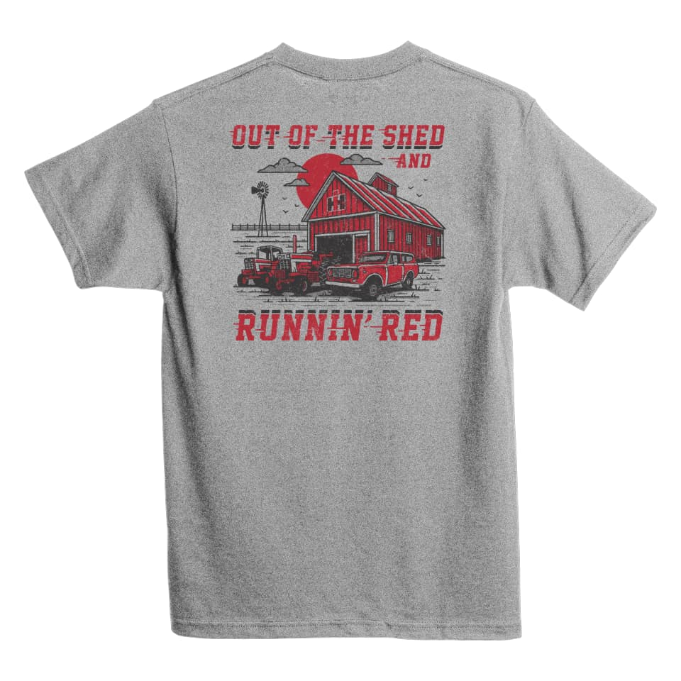 international harvester running red out of the shed tee shirt