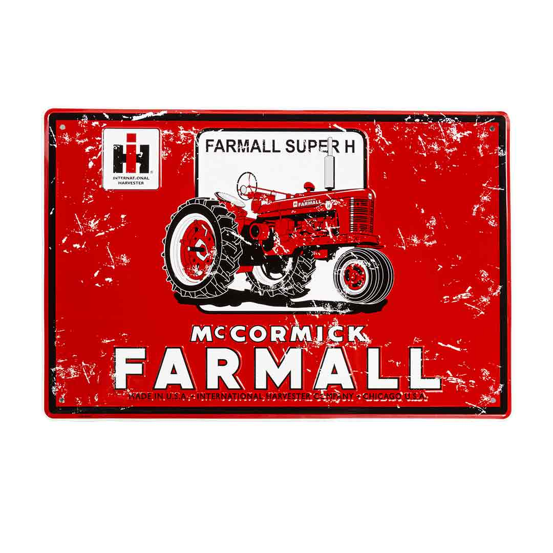international harvester farmall red tractor metal sign