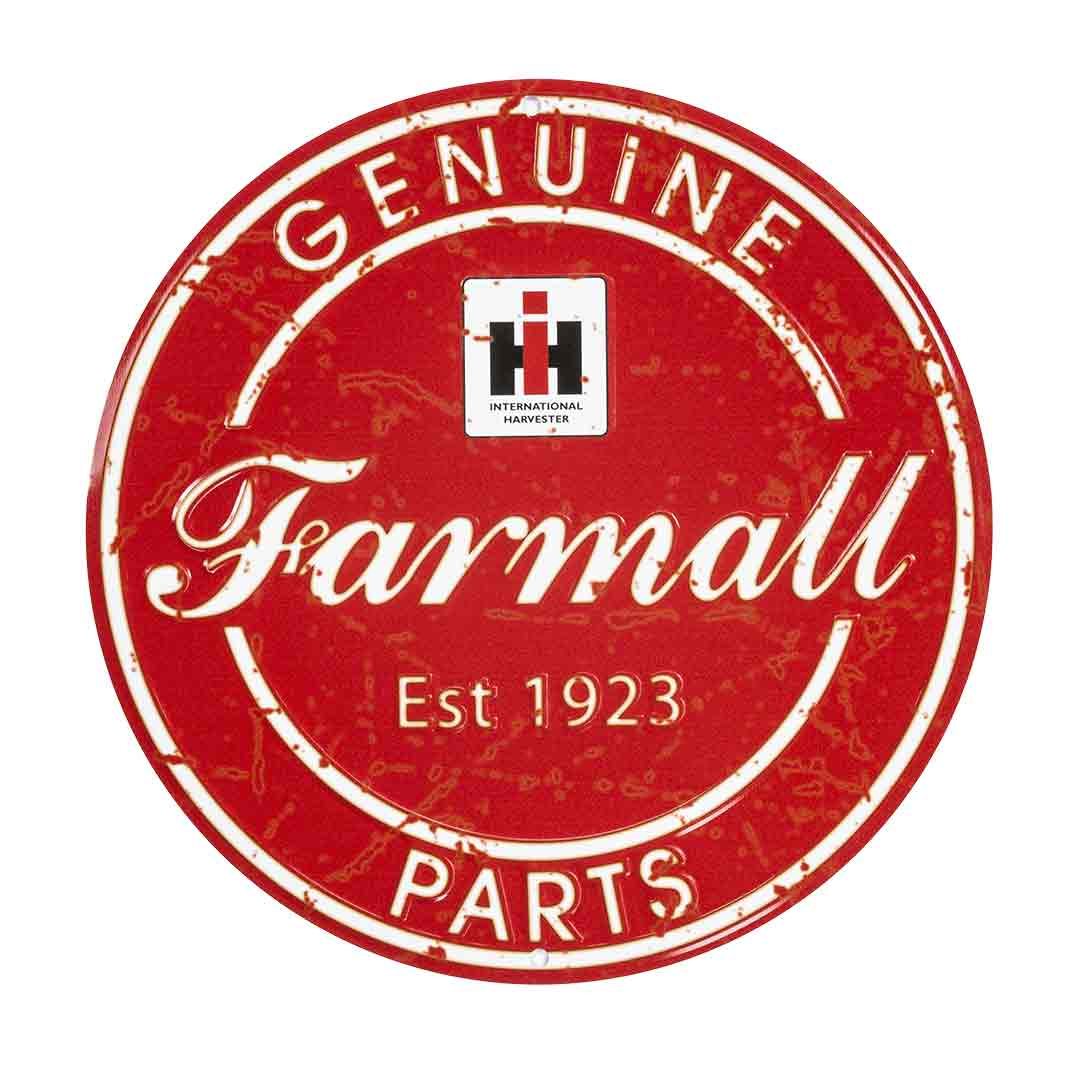 International Harvester Farmall Genuine Parts Round Metal Sign