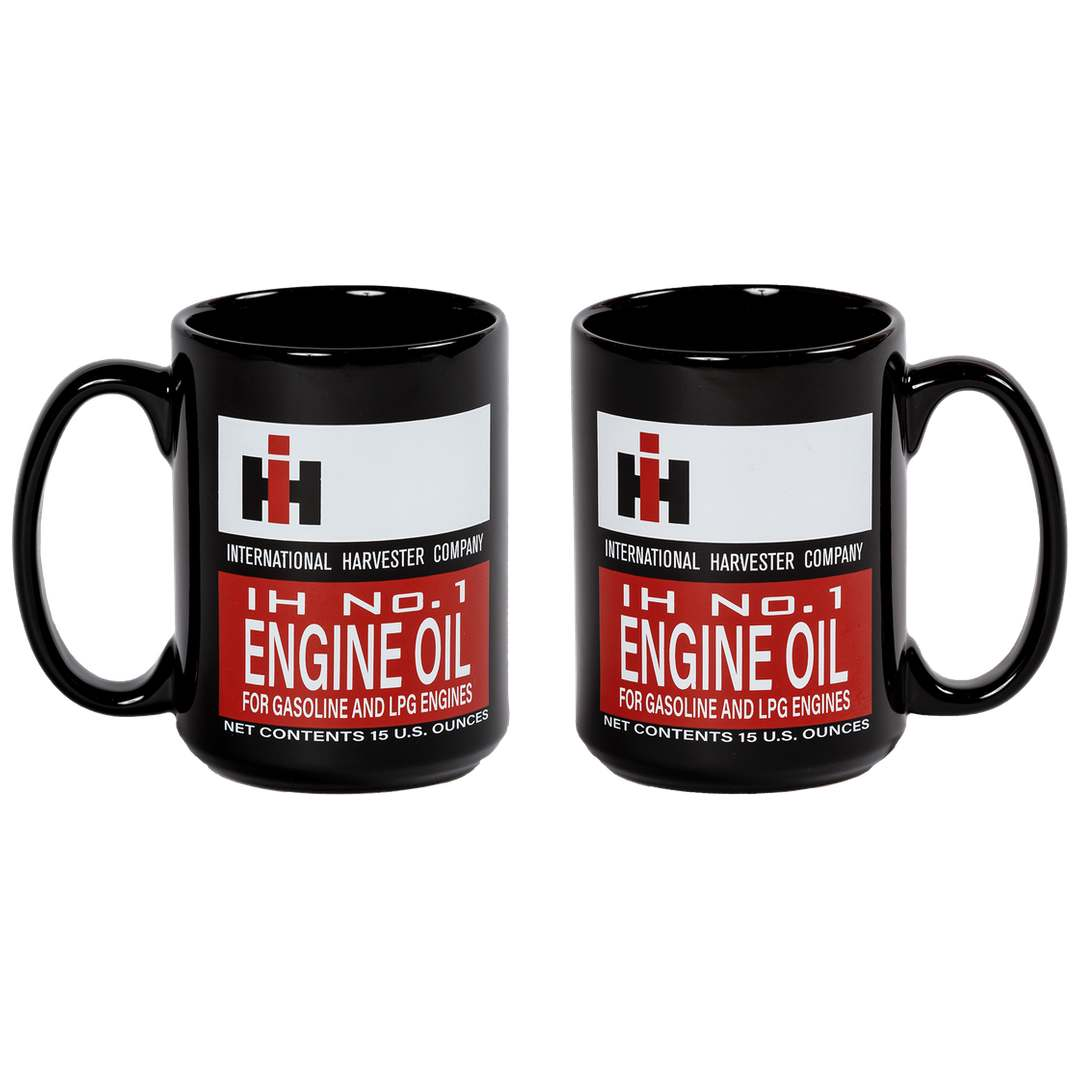 pair of 15oz ih engine oil coffee mugs