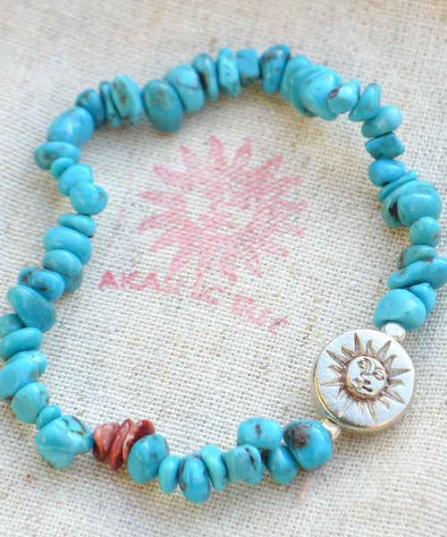 AkasicTree/アカシックツリー TURQUOISE&CORAL BRACELET AT-9-12-14