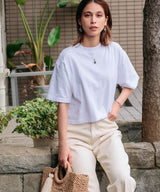 LOS ANGELES APPAREL/ロサンゼルスアパレル OVERSIZED CROP TEE 半袖クロップTシャツ/ショート丈カットソー