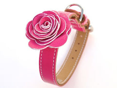 pink leather dog collar with flower