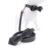matching black leather dog leash and leather dog collar
