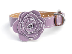 purple luxury leather dog collar with flower