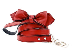 red bowtie leather dog leash