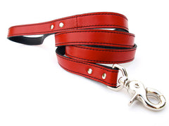red luxury leather dog leash