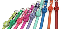 colorful luxury leather dog collars
