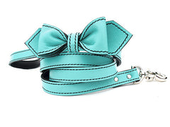 seafoam green luxury leather bow tie dog leash
