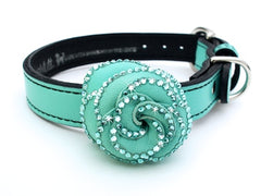 seafoam green luxury leather dog collar with crystal studded flower