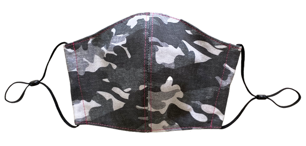 Grey Camo with Pink Stitching Face Cover