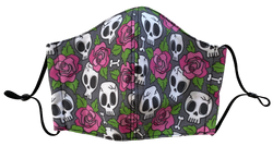 Skulls and Roses Face Cover