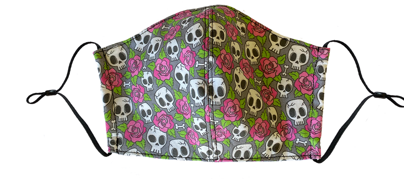 Kids Small Skulls and Roses Face Cover