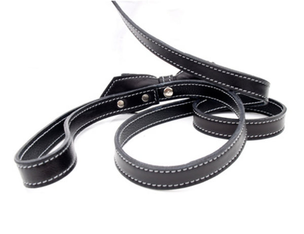 Basic Black Martini Bowtie Leather Dog Leash - LuxeMutt