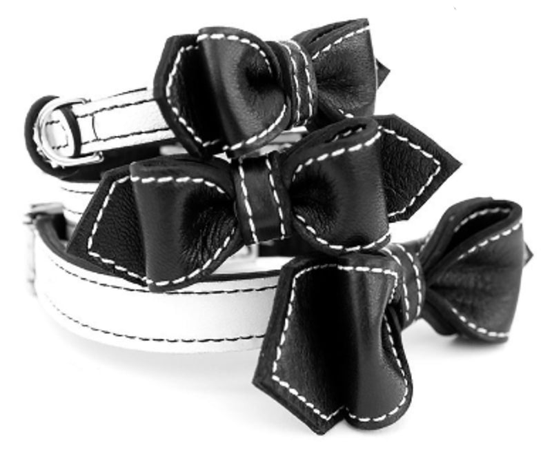 Black and White Oreeo Martini Bowtie Leather Dog Collar - LuxeMutt
