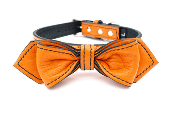 California Tangerine Martini Bowtie Leather Dog Collar - LuxeMutt