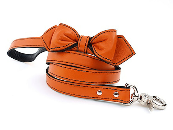 California Tangerine Martini Bowtie Leather Dog Leash - LuxeMutt