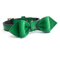 Country Club Green Too Martini Bowtie Leather Dog Collar - LuxeMutt