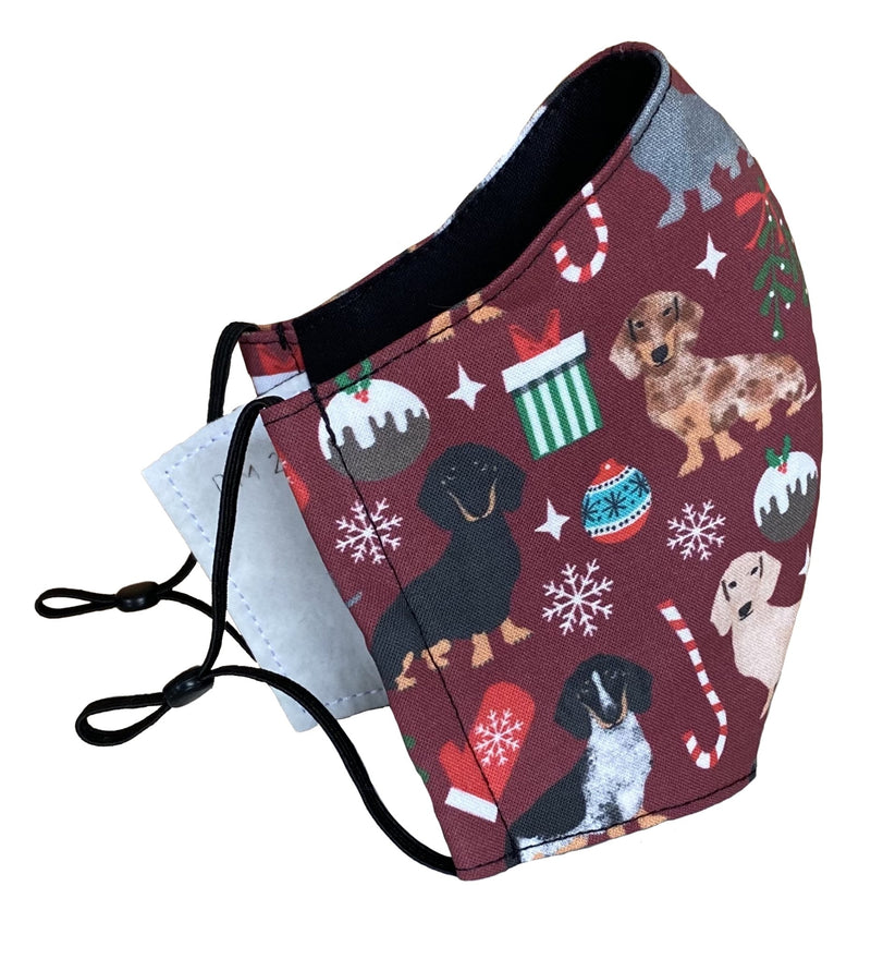 Holiday Doxie Face Cover - LuxeMutt