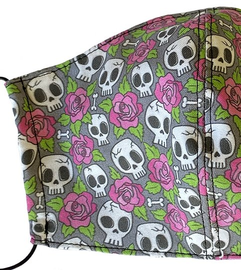 Kids Small Skulls and Roses Face Cover - LuxeMutt