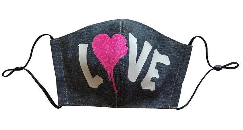 Love Vintage Wash Denim Face Cover - LuxeMutt