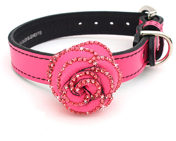 LuxeMutt Pink Rosalicious Leather Dog Collar - LuxeMutt