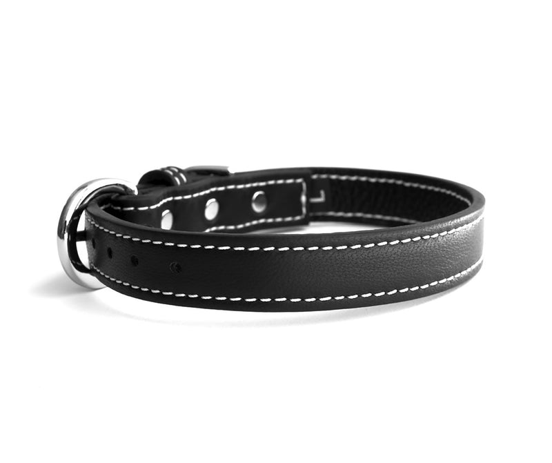 Minimalist Basic Black Leather Dog Collar - LuxeMutt