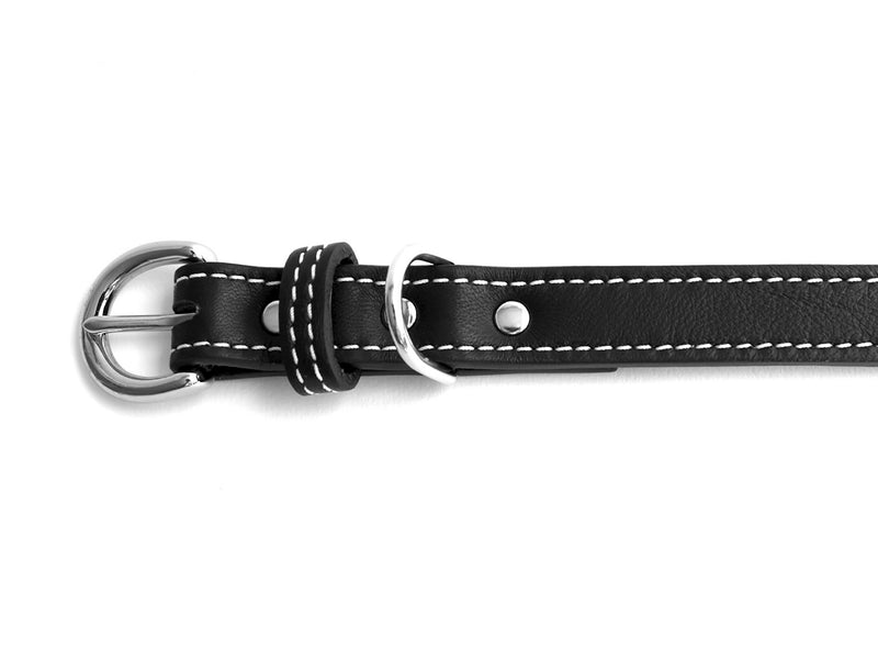 Minimalist Basic Black Leather Dog Collar